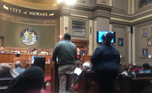 NewarkDIG members Drew Curtis and Nicole Miller presenting to the Newark City Council.