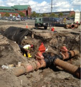 Image of underground pipes being installed.